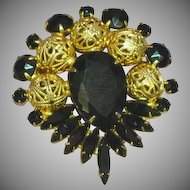 Juliana Deliza and Elster D&E Black Rhinestones Filigree Balls Brooch Pin