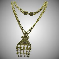"Goldette Purple Amethyst Rhinestone Dangle Revival Statement 26"" Necklace"
