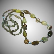 """Gemstones Labradorite Agate Shell OOAK One of a Kind 28"""" Single Strand Necklace"""