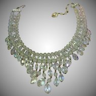 Vendome BOOK PIECE Drippy Faceted A/B Crystal Bib Necklace