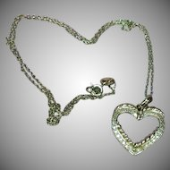 Sterling Silver Vintage Open Heart Pendant with Diamond Chips  Necklace