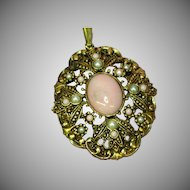 Avon Classic Faux Pearls Pink Cab BOOK PIECE Pendant for Necklace