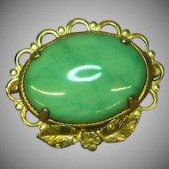Gold Filled Green Turquoise Signed Designer JJJ Brooch Pin