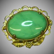 J.J.J. Marked Gold Filled Green Turquoise Brooch Pin