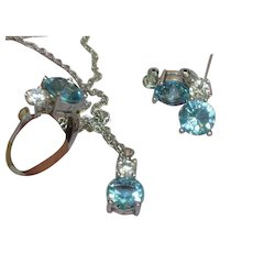 London Blue Topaz Crystal Necklace Earrings and Ring Set Demi Parure