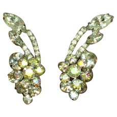 Juliana D&E Clear and A/B Rhinestone Clip Earrings
