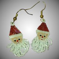 Beaded Santa Clause  Vintage Long Dangle Pierced Earrings