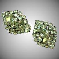 Gale Rothstein Rhinestones Clear Crystal Clip Earrings