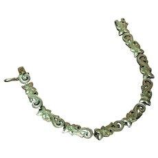 Etched Romantic Engraved Floral Design Vintage Sterling Silver Link Bracelet
