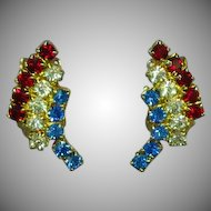 Weiss Signed Rhinestones Red White and Blue USA Patriotic Exceptional Vintage Clip Earrings