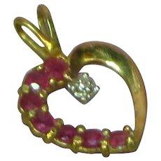 10k Yellow Gold Ruby & Diamond Heart Necklace Pendant