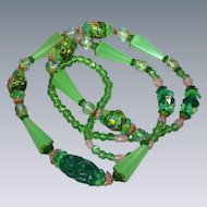 Vintage Czech Pink & Green Crystal Wedding Cake Bead Necklace