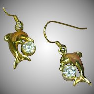 Crystal Vintage CZ Gems Dolphin Figural Dangle  Earrings