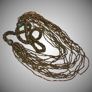 Coppery Bronze Colored Seed Bead Multi-Strand Necklace