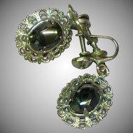 50% OFF SALE Vintage  Sterling Silver Faceted Hematite Filigree Screw Back Earrings