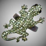Gecko Leaping Lizards Rhinestones  Fashion Fun Ring