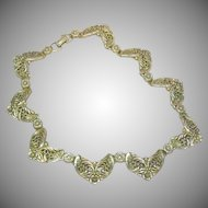 Gold Tone Choker Necklace Dimensional Solid