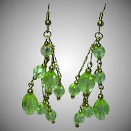 Yellow  Faceted Crystal Dangle Cluster Pierced Earrings