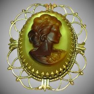 50% OFF SALE Cameo Large Ornate Givre Art Glass Pin Brooch