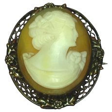 Cameo Art Nouveau Gold Filled Shell Hand Carved Brooch Pin Pendant