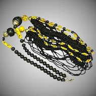 Naga Necklace Northeast India, Nagaland, Naga People Striking Black and Yellow Beads Necklace