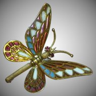 18-Karat Yellow Gold Plique-A-Jour Enamel Butterfly Pin in  Marked 750 Spain  Articulated Body and Wings