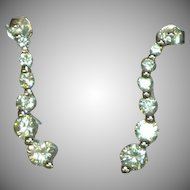 Sterling Silver Rhodium Plate Diamonique Earrings