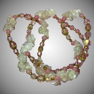 "Opaline Opalite Glass Spectacular Vintage 26""  Pinks Opaline Rose Quartz  Swarovski Crystal Necklace"