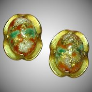 Judy Lee Marked Fantastic Easter Egg Orange & Turquoise Clip Earrings