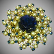 Judy Lee Domed Spiral Blue Rhinestone & Faux Pearl Brooch Pin