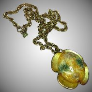 Judy Lee Art Glass Easter Egg Large Cabochon Necklace