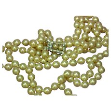 Vendome Signed Double Strand Glass  Pearl Necklace