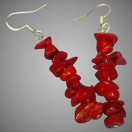 Coral Red Chunky Drop Dangle Hand Strung Pierced Earrings