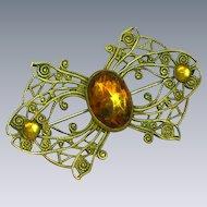 50% OFF Vintage Czech Circa-1930-40's Brass Glass Amber Pin Brooch
