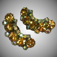 Kramer Signed Sensational Topaz and A/B Crystal Rhinestone Clip Earrings