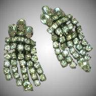 Weiss Signed Elegant Rhinestone Clip Dangle Earrings