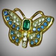 Swarovski Signed Crystal Rhinestones Butterfly Brooch Pin