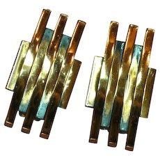 Renoir Signed Copper Lines Bars  Clip Earrings