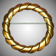 Copper Wreath Circle Pin Brooch