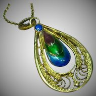 Chinese Export Enamel Pendant  Necklace