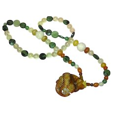 Jade Carved Faceted Agate Carnelian Rock Crystal Chinese Carved Necklace