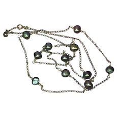 Italian Cultured Black Baroque Pearl Marked 925 Italy Necklace