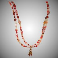"SALE! Murano Venetian Glass Givre Glass  Italy All Glass 28"" Double Strand Bead Necklace"
