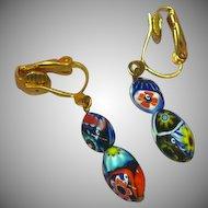 Vintage Millefiori Murano Glass Dangle Drop Clip Earrings