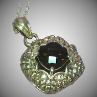 Vintage  Sterling Silver Big Bold Exquisite Genuine Smokey Quartz Necklace