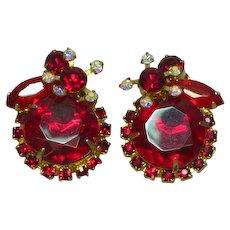 Juliana D&E DeLizza & Elster Siam Red AB Big Bold Rhinestones Large Clip Earrings