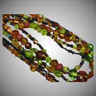"Art Glass Greens Browns Italy Venetian Murano Foil Crystal 5 Strand 22"" Necklace"