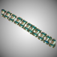 Mexican Mexico Sterling Silver and Turquoise Large Link Panel Bracelet