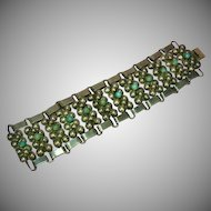 Early  Turquoise Sterling Silver Mexican Mexico Heavy Wide Panel Bracelet