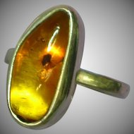 SALE!  Vintage Genuine Insect Bug Glowing Amber 925 Sterling Silver Ring